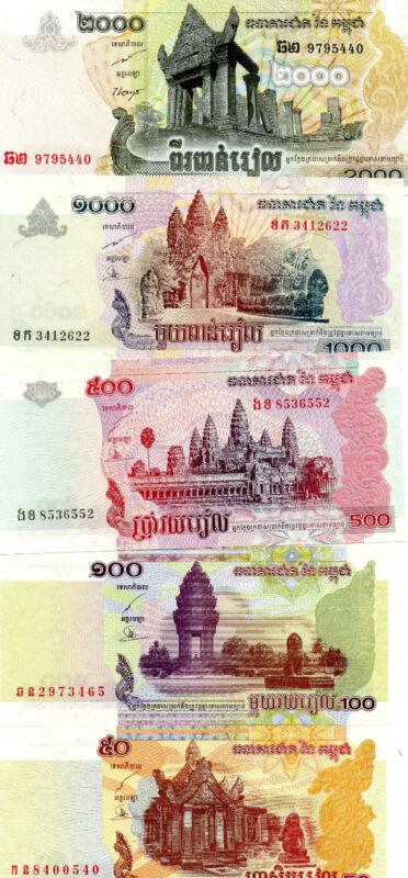 CAMBODIA beautiful bundle of 5 different UNC notes