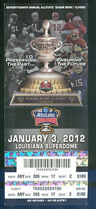 2012 Sugar Bowl Full Ticket Michigan v Virginia Tech Football