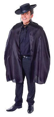 Mens Black Bandit Cape Fancy Dress Costume Zorro Musketeer Outfit Adult - Black Bandit Kostüm