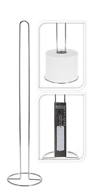 Silver Chrome Free Standing Spare Toilet Roll Holder Stand Toilet Roll Storage