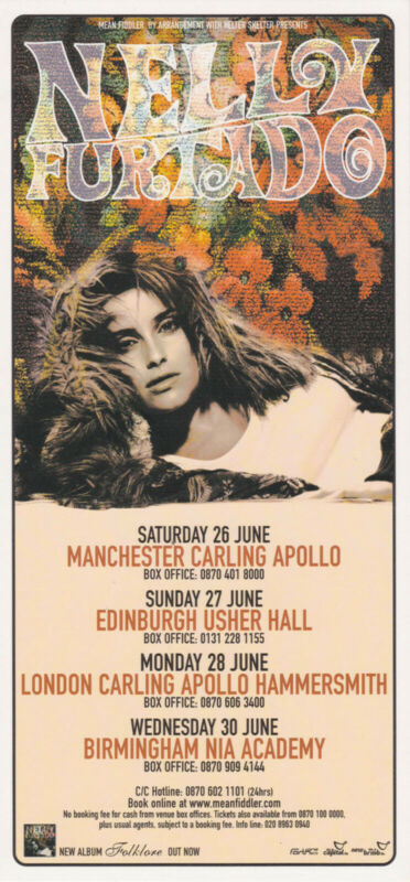 Nelly Furtado - 2004 UK tour flyer concert handbill - Folklore