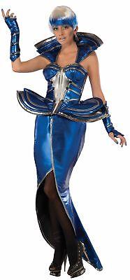 Metallic Cosmic Queen Costume Blue Silver Women Corset Skirt Gloves Outer (Outer Space Kostüme)
