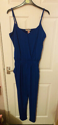 Lipsy Size 12 Blue Jumpsuit Classic Party Vintage Club