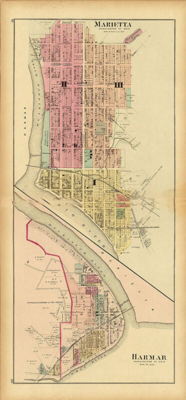 1877 map Atlas Upper Ohio River Marietta Washington Harmar Washington County 77