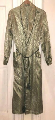 VTG 1940s Mens Green / Gold Brocade Art Deco Lounge Smoking Robe Sz M