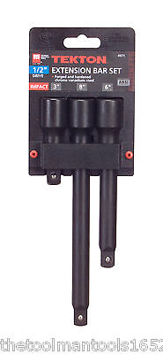 New TEKTON 4971 3-pc. 1/2 in. Drive Impact Extension Bar Set - Cr-V