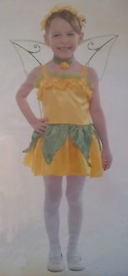 Yellow Flower Butterfly Fairy Pixie Princess Girls Halloween Costume Toddler 4-6