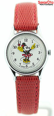 Dial Lizard Strap - Disney RMF009 White Minnie Dial Red Lizard Strap Stainless Steel Women's Watch
