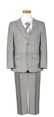 boys Silver Grey Chambray pattern formal suit executive special occasion wedding - Boys Grey Suit