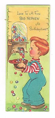 Vintage Gibson Birthday Greeting Card Boy & Bubble Gum Machine 1950's