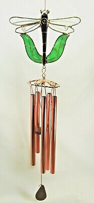 Dragonfly Wind Chimes (Dragonfly Wind Chime Stained Glass w/ Copper Accents & Chimes Home & Garden)