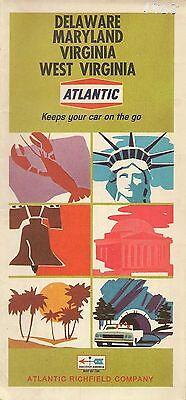1968 ATLANTIC RICHFIELD Imperial Gas Road Map DELAWARE MARYLAND WEST VIRGINIA