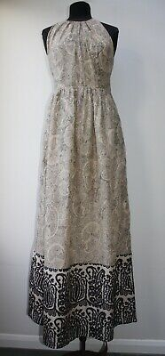 Hoss Intropia Beautiful Silk and Cotton Paisley Print Strappy Maxi Dress, 40, 12