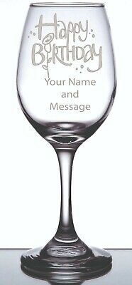 Engraved Personalized Customized Wine Glass Birthday with Your