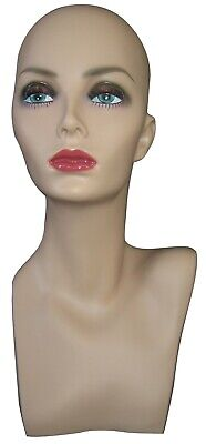 Realistic Face Fiberglass Adult Female Mannequin Head With Detailed Face Make Up