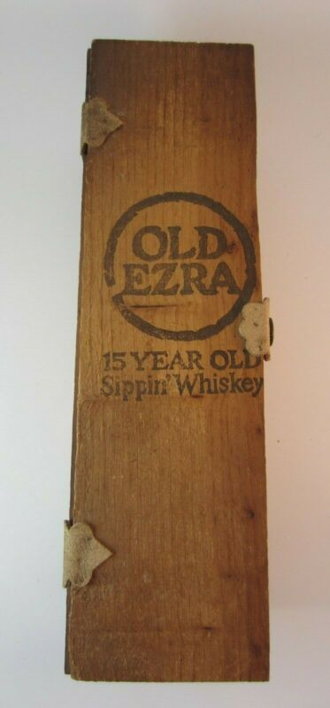 Vintage OLD EZRA Kentucky Sippin Whiskey Wooden Box Leather Hinges & Label 101