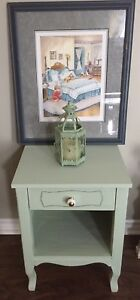 Pretty hand painted night stand with framed print and light