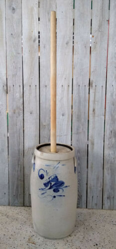 Antique Primitive 4 Gallon Stoneware Butter Churn w/ Salt Glaze, Cobalt Flower