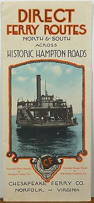 1930's Chesapeake Ferry Co. Norfolk Virginia Bay illustrated map & brochure b