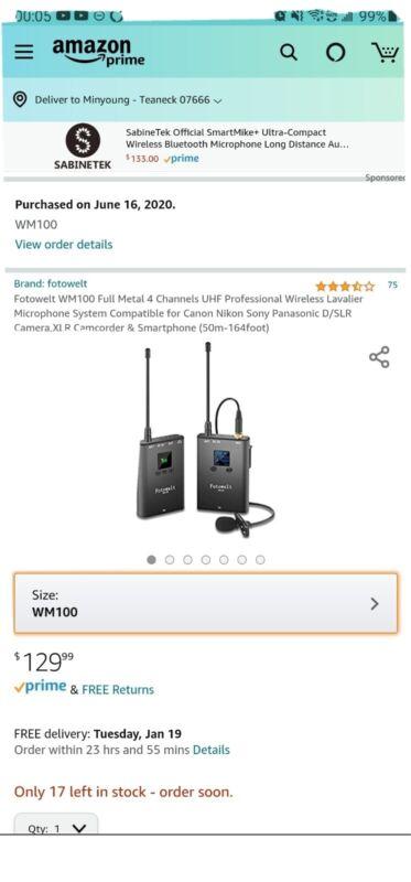 Fotowelt WM100 Full Metal 4 Channels UHF Professional Wireless Lavalier...