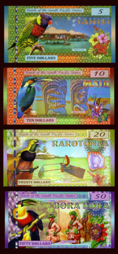 SET, South Pacific States, $5;$10;$20;$50 2015-2016, Polymer, UNC