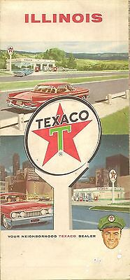 1963 Texaco Oil Road Map Illinois Route 66 Springfield Decatur Rockford Peoria