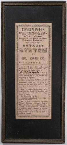 Antique Medical Quackery Framed Poster Advertisement, 1800