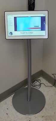 Professional Kiosk Tablet Floor Stand with Round Base, Silver