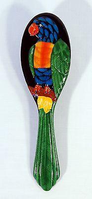 Hand Painted Art Hair Brush Green Parrot Bird Design - Hand Painted Bird Design