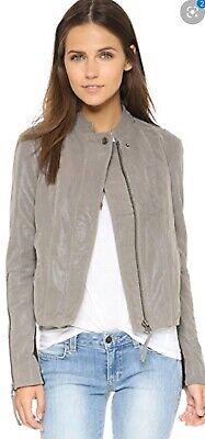 Free People Jacket Size 0 XS Women Gray Faux Vegan Leather Moto Biker Zip Sleeve