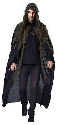 ADULT GRIM REAPER HOODED BLACK CAPE FANCY DRESS COSTUME ACCESSORY