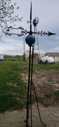 Antique Farm Barn Country Weathervane American Folk Art. Deep Blue Ball!