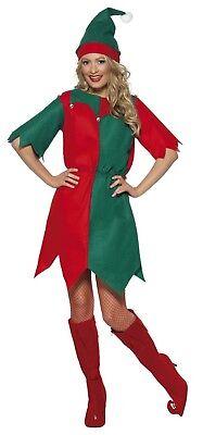 Mann Elfe Kostüm (Erwachsene Damen Rot & Grün Elfe Kostüm Weihnachtsmann-Helfer Weihnachtsfeier)