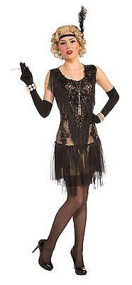 Lacey Lindy (Deluxe Flapper-Kleid), 1920 der Frauen Kostüme - Schwarzes Flapper Kleid Halloween Kostüme