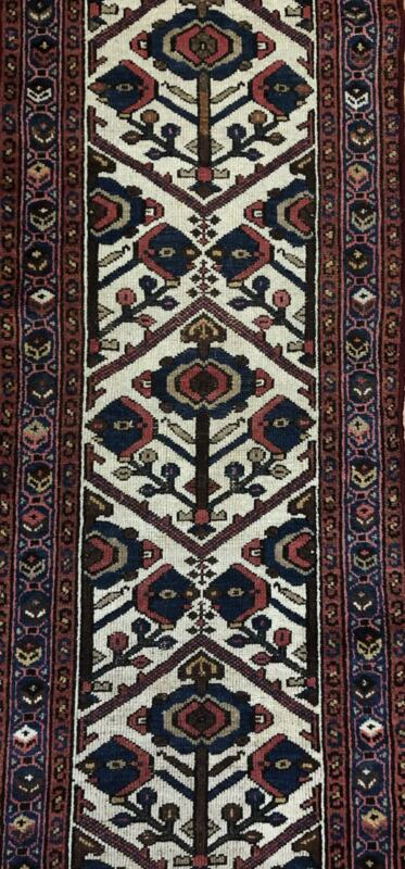 Handsome Hamadan - 1940s Antique Persian Rug - Tribal Carpet - 2.5 X 9.6 Ft.