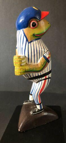 Baseball Player Frog Wood Statue Handcrafted Carved, Folk Art