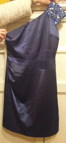 Offerta abito sera blu Raso vestito moda scontato elegante cerimonia donna Tg 46