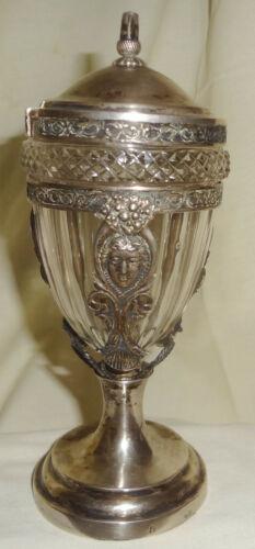 VR c1850-60 CONTINENTAL solid SILVER MEDALLION condiment JAR w/ CUT GLASS INSERT