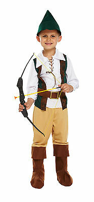 New Boys Hunter Medieval Robin Hood Book Week Kids Peter Pan Fancy Dress Costume