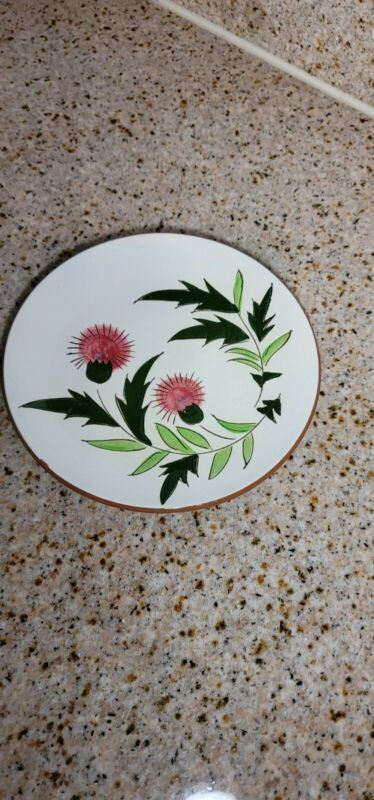 """VTG Stangl Pottery Country Garden Thistle Brown Body 8.25"""" Salad Dessert Plate"""