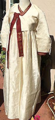 Vintage White Silk Korean Hanbok 3 Pc Dress Traditional Costume