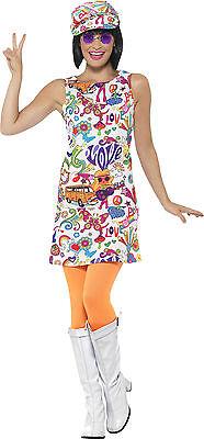 Groovy Hippie Girl Kostüm für Damen NEU - Damen Karneval Fasching Verkleidung Ko