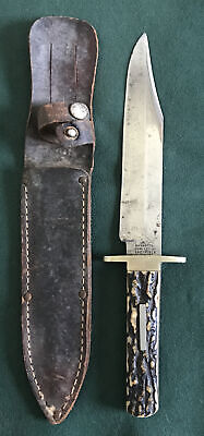 MANHATTAN CUTLERY CO.SHEFFIELD,ENGLAND OLD VINTAGE BOWIE KNIFE STAG HANDLE RARE.
