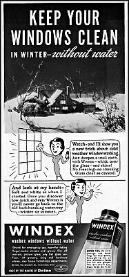 1936 Winter home snowy night Windex window cleaner vintage art print Ad ads15