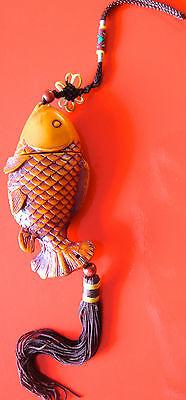 grosser  Fisch Fische Schnitzerei Feng Shui Glücksbringer Reichtum  AAA