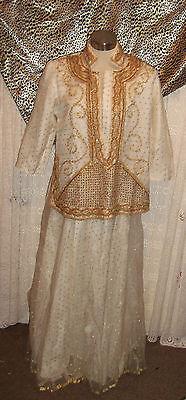 Indian wedding/ceremonial cream& gold polka dot shirt&skirt-gold beadwork detail