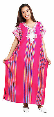Moroccan Kaftan Caftan Beach Cover Up Summer Dress Casual Linen Sm-Lg Magenta