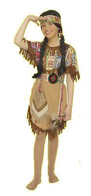 3tlg Kinder Kostüm SQUAW Indianerin Indianer Mädchen Kleid - Kind Indianer Kleid
