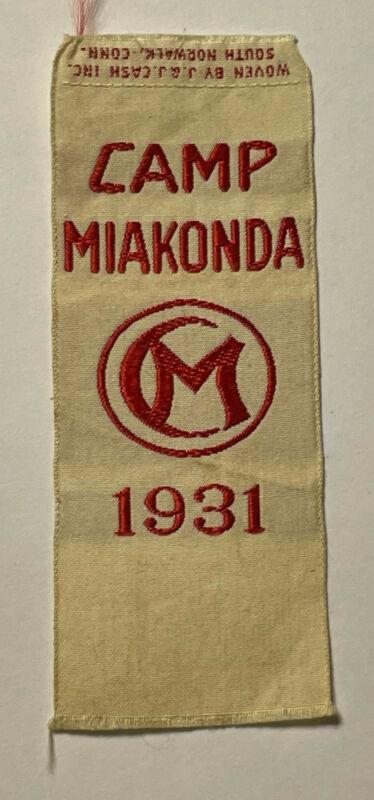 Very Rare 1931 Camp Miakonda Ohio Woven Patch Boy Scout