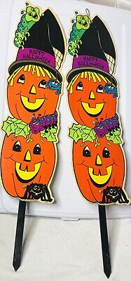 "HALLOWEEN Plastic Yard Art Lot Of 2 VINTAGE 1990s Good PUMPKINS 26"" Decorations - Yard Art Halloween Decorations"
